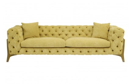Esme 3 Seater Sofa Citron Fabric Metal legs