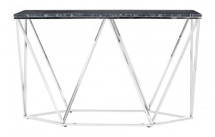 Premium Rectangular Console Table Black Faux Marble Chrome