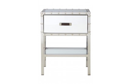 Rivet Bedside Table Stainless Steel/Mirror/Glass Single Drawer
