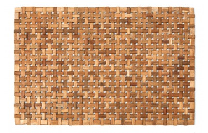 Kora Acacia Mat Indoor Doormat / Bath Mat Cross Block
