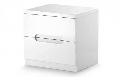 Manhattan 2 Drawer High Gloss White Bedside