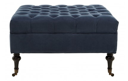 Sasha Footstool Button Detail Midnight Velvet