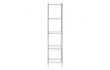 5 Tier Shelf Unit With Basket Chrome