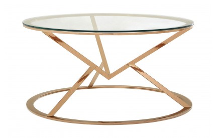 Premium Round Coffee Table Clear Glass Rose Gold Stainless Steel