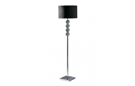 Mistro Floor Lamp Smoke Orb / Chrome Base Black Faux Suede Shade / UK Plug