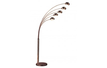 Zeus Floor Lamp 5 Arced Lights / Copper Finish UK Plug