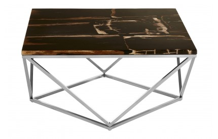 Newcity Coffee Table Dark Petrified Wood Metal Frame