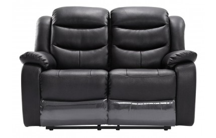 Kirk Recliner Leather 2 Seater Black