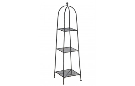 New York Loft Shelf Unit 3 Tier Distressed Black Metal