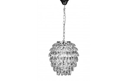 Fallon Pendant Chrome Iron Frame/Crystal