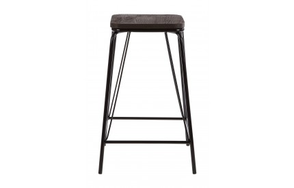 Precinct Stool Black Metal and Elm Wood