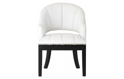 Dorchester White Chair Faux Leather Rubberwood Legs