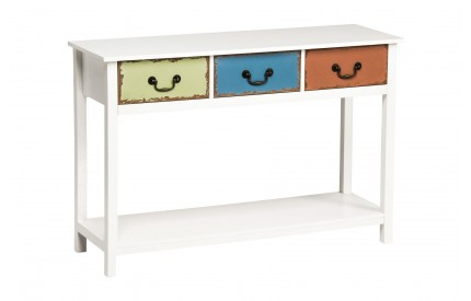 Monarchy Table White Wood/Coloured Drawers