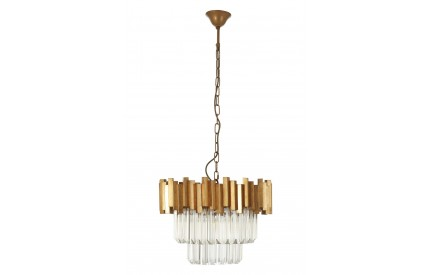 Lustra Chandelier Gold Finish Iron Clear Glass