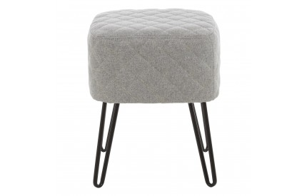 Greece Stool Grey Fabric Black Metal Legs