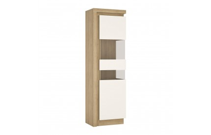 Lyon Tall Narrow Display Cabinet (LH) White Gloss