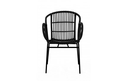 Lagom Chair Rattan Black Iron Legs