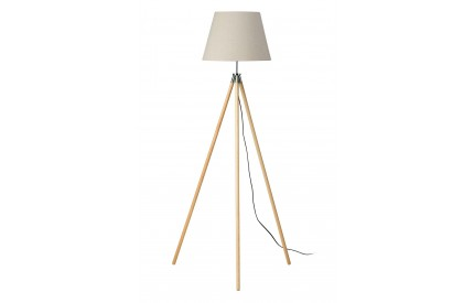 Greece Floor Lamp Light Wood Tripod Base Flax Fabric Shade / UK Plug