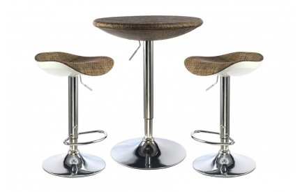 Nolte Bar Table Chrome Brown Textilene Top