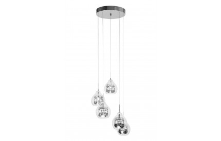 5 Pendant Light Clear Glass/Chrome