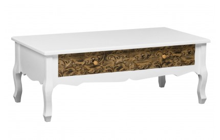 Bali Coffee Table 2 Drawers/Embossed Design Fir Wood/MDF