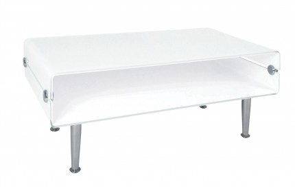 Coffee Table 2 Tier White Glass Chrome Finish Legs