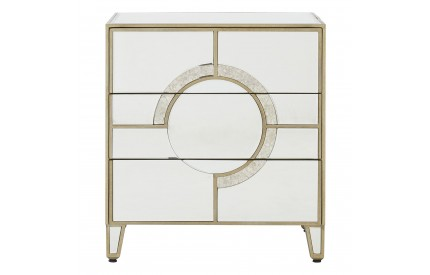 Warwickshire Bedside Table Mirrored Glass 3 Drawers