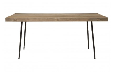 Mason Dining Table Oak Wood Black Iron Legs