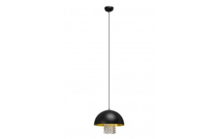 Pendant Light Black Metal/With Crystals Gold Finish Inner