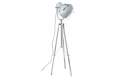 Industrial Revolution Tripod Floor Lamp White / Chrome