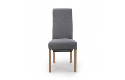 Baxter Wave Back Linen Effect Steel Grey Dining Chair