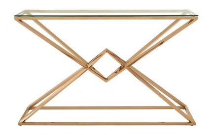 Premium Console Table Rose Gold Stainless Steel Tempered Glass