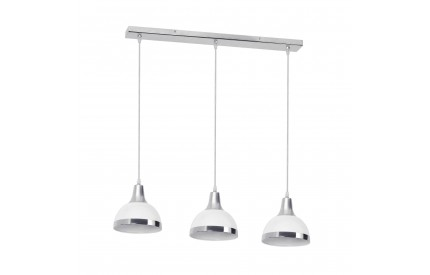 Martino Pendant Light 3 Shades White Shade/Chrome