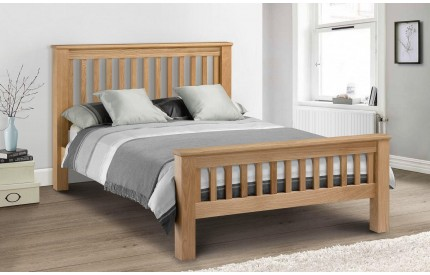 Solid Oak Bed Amsterdam High Headboard
