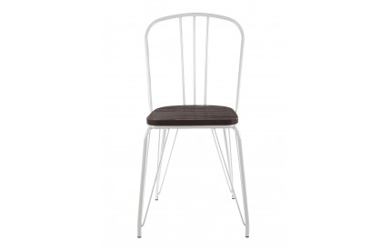 District High Back Chair White Metal and Elm Wood