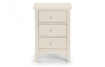 Cameo 3 Drawer Bedside Ivory White Cream