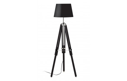 Martino Floor Lamp Black Wood / Chrome Black Fabric Shade / EU Plug