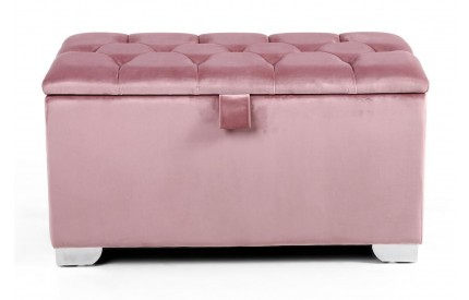 Molineux 3ft Brushed Velvet Pink Blush Ottoman