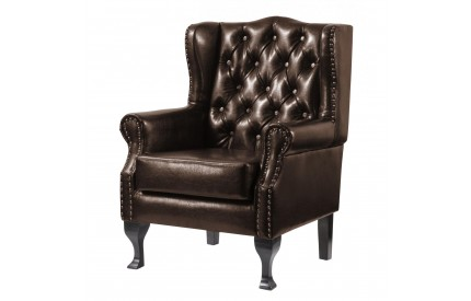 Riles Leather Arm Chair Brown