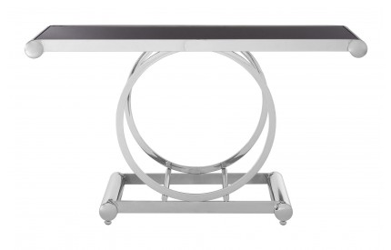 Novara Console Table Black Glass Top Stainless Steel Frame
