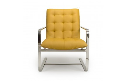 Logan Cantilever Leather Match Yellow Armchair