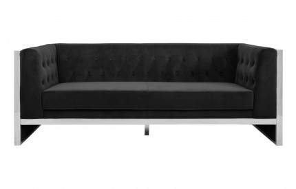 Pose 3 Seat Sofa Black Velvet Stainless Steel Frame