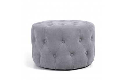 Verona Small Round Light Grey Pouffe