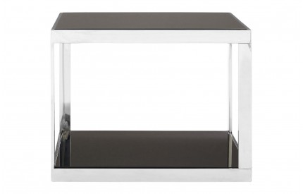 Ackley Coffee Table Stainless Steel Black Tempered Glass