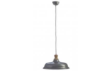 Norway Small Pendant Light Iron / Wood Zinc Finish