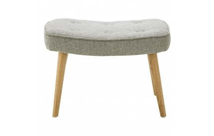 Bergen Footstool Polyester / Natural Wood legs Grey