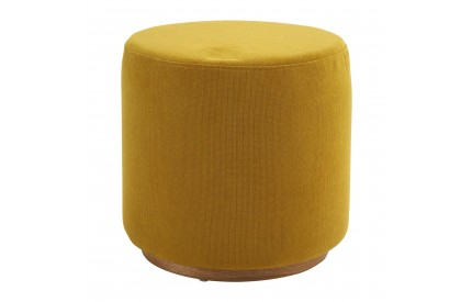 Kolding Round Stool Yellow Fabric Ash Veneer Base