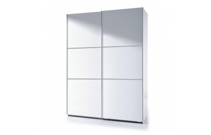Pacific Sliding Wardrobe 5 Foot Full Hanging High Shine White