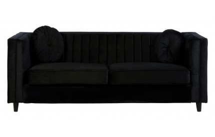 Furrah 3 Seat Sofa Black Velvet Pleat Detail