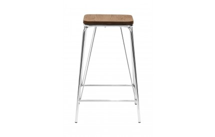 Precinct Stool Chrome Metal and Elm Wood